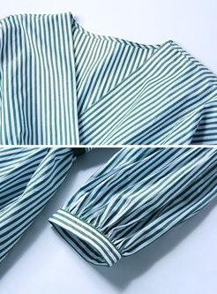 Brief Striped V-neck Tie-waist Hem Skater Dress
