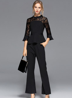 Lace Splicing Flare Sleeve Slim Top & Striped Flare Pants