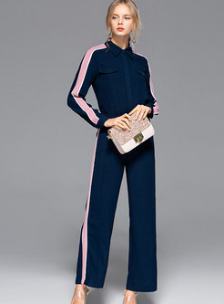 Color-blocked Lapel Single-breasted Blouse & High Waist Wide Leg Pants