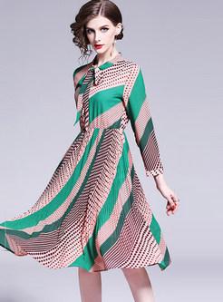 Vintage Bowknot Standing Collar Waist Skater Dress