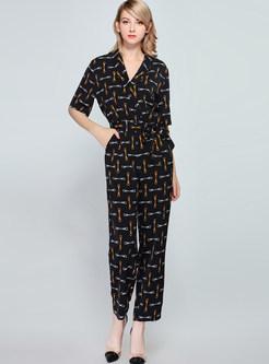 Vintage V-neck High Waist Slim Print Jumpsuit