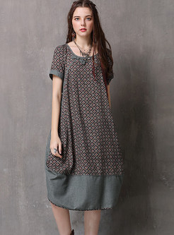Retro O-neck Short Sleeve Print Splicing Shift Dress