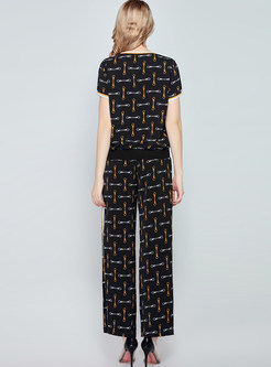 Casual O-neck Short Sleeve Print Pant Suits