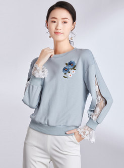 Casual Lace Splicing O-neck Embroidered Loose Sweatshirt