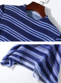 Trendy O-neck Color-blocked Striped Pleated Dress