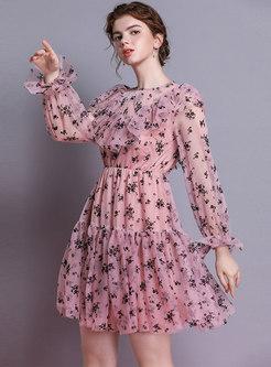 Floral Flare Sleeve Gathered Waist Gauze Skater Dress