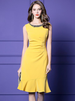 Elegant O-neck Sleeveless Drilling Sheath Mermaid Dress