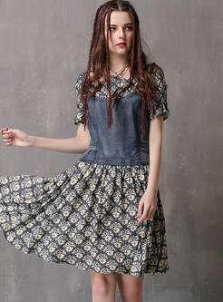 O-neck Print Short Sleeve Splicing Denim Skater Dress