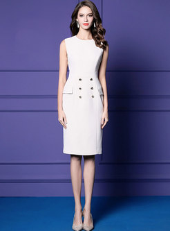 Elegant O-neck Sleeveless Sheath Dress & Stand Collar Double-breasted Cape