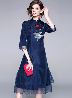 Vintage Mandarin Collar Embroidered Slim Skater Dress