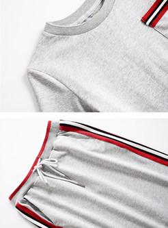 Casual O-neck Short Sleeve T-shirt & Elastic Waist Skirt