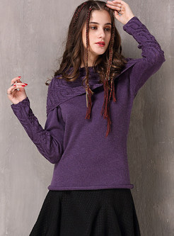 Vintage Solid Color Long Sleeve Slim Sweater