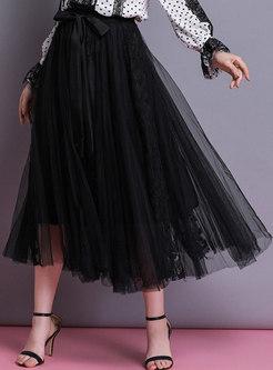 Gauze Elastic Waist Bowknot Hem A Line Skirt