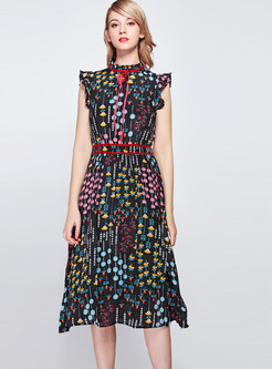 Fashion Standing Collar Tied Sleeveless Print Dress