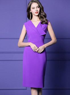 Stylish Color-blocked Sleeveless High Waist Bodycon Dress