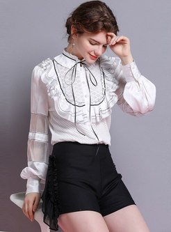 Chic Ruffled Collar Lantern Sleeve Single-breasted Blouse
