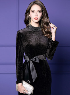 Velvet Stand Collar Tie-waist Sheath Dress