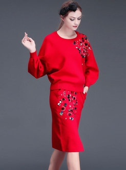 O-neck Bat Sleeve Sequins Loose Top & Slit Knitted Bodycon Skirt