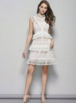 Elegant Stand Collar Sleeveless Hollow Out Slim Skater Dress