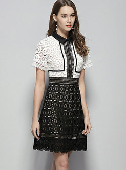 Color-blocked Lace Lapel High Waist Slim A Line Dress