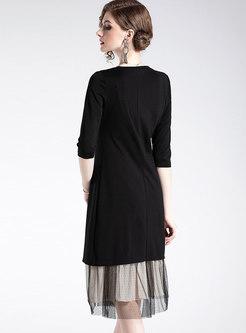 Black O-neck Slit Long Top & Elastic Waist Gauze Skirt