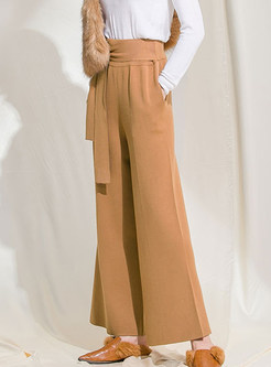 Chic Solid Color High Waist Tied Wide Leg Pants