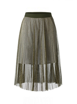 Solid Color High Waist Mesh Splicing Pleated Skirt