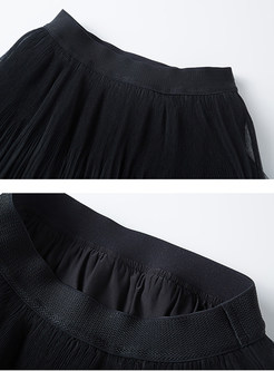 Casual Solid Color High Waist Mesh Splicing Skirt