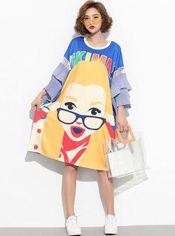 Casual Cartoon Pattern Flare Sleeve Loose T-shirt Dress