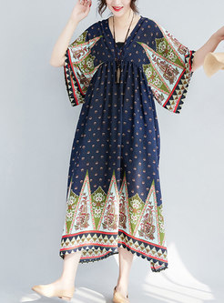 Ethnic Print V-neck High Waist Hem Maxi Dress