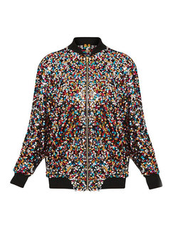 Chic Stand Collar Zipper Sequins Short Coat