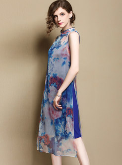 Vintage Print Stand Collar Sleeveless Slit Shift Dress With Cami