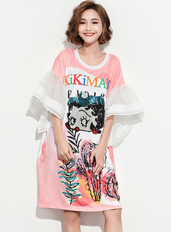 Chic Cartoon Pattern Sequins Loose T-shirt Dress