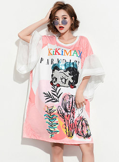 Cartoon Pattern Sequin Loose T-shirt Dress
