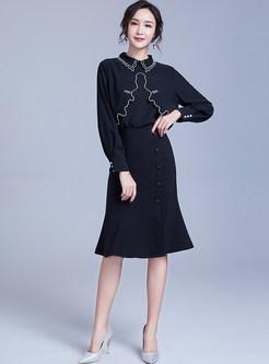 Fashion Lapel Long Sleeve Irregular Chiffon Blouse