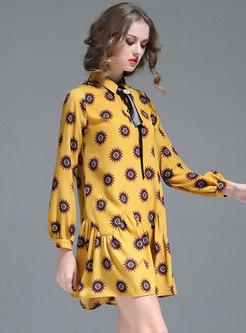 Chic Print Lapel Falbala Loose Mini Dress