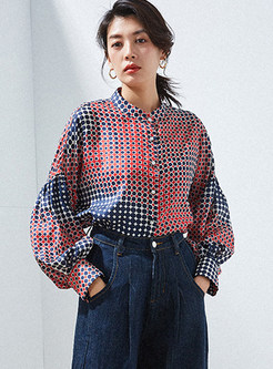 Vintage Color-blocked Standing Collar Loose Blouse