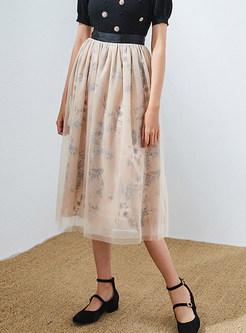Sweet Elastic Waist Mesh Print Big Hem Skirt