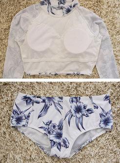 Stylish Print Stand Collar Two Piece Swimwear