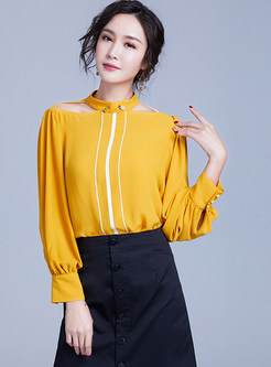 Hollow Out Standing Collar Lantern Sleeve Blouse