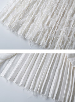 Sweet Solid Color Easy-matching Feather Pleated Skirt