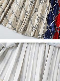 Casual Elastic Waist Plaid Print Pleated Skirt