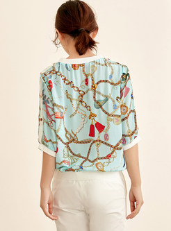 Trendy Print O-neck Loose Silk T-Shirt