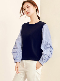 Lantern Sleeve Splicing Pullover Knitted Shirt