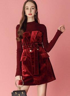 Velvet Splicing Stand Collar Belted Slim Mini Dress