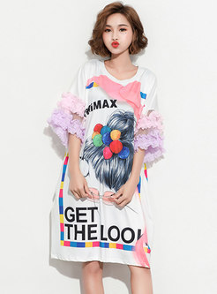 Casual Print O-neck Shift T-shirt Dress