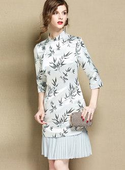 Retro Print Splicing Mandarin Collar Bodycon Dress