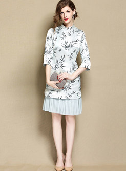 Retro Print Splicing Mandarin Collar Bodycon Dress