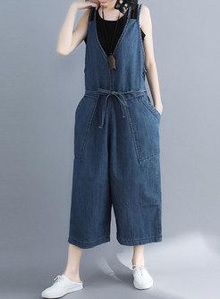 Stylish Blue Denim Belted Wide Leg Overalls
