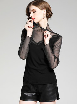 High Neck Mesh Perspective Slim T-shirt
